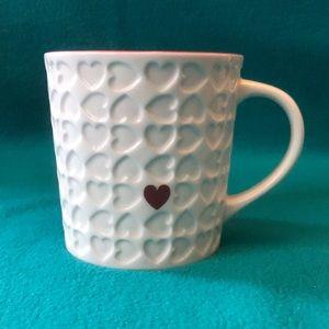 Starbuck's Embossed Heart Mug w Red Interior